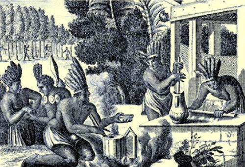 Una tribù di Atzechi mentre prepara il cioccolato