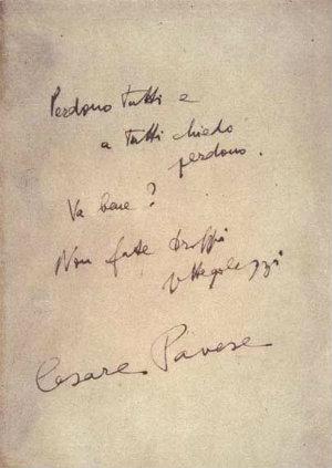 Le ultime parole annotate da Cesare Pavese sul frontespizio del volume Dialoghi con Leucò